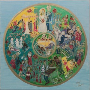A life cycle painting by Sheryl Intrator Urman