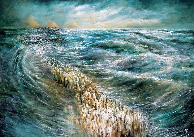 Painting of splitting of the Red Sea copyright Lidia Kozenitzky, via wikimedia commons